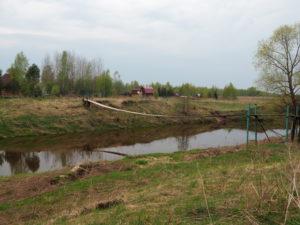 Подвесной мост через Сестру в деревне Слободка