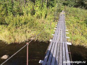 Пешеходный подвесной мост через Москву реку близ деревни Рассолово Можайского района